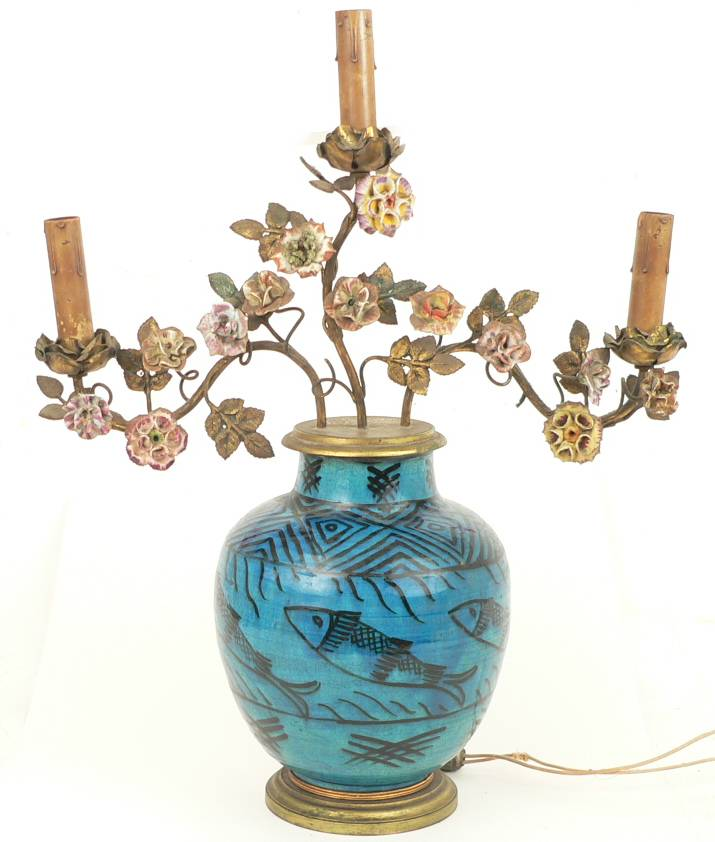 Paris Porcelain Hand Decorated Vase Fitted For Lamp Pia: South Street Antiques